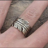 Men's Vintage Handmade Adjustable Leaf Ring