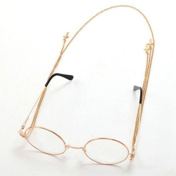 VONE05O Retro Steampunk Lolita Glasses w Cross Pendant Chain Victorian Cosplay Eyewear