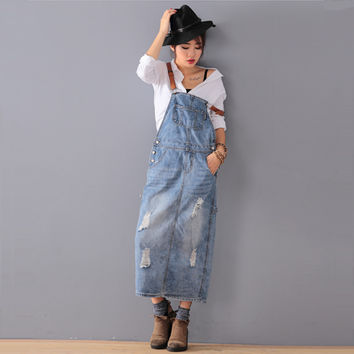 Free Shipping 2016 New Fashion Loose Denim Dresses With Holes Jeans Suspenders One Piece All-match Long Maxi Summer Ladies Dress