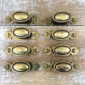 Drawer Knobs 8 Drawer Pulls Brass Knobs with Backplate Dresser Drawer Handles Cabinet Door Knobs Mid Century Hardware Antique Hardware