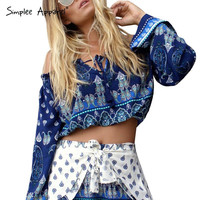 Simplee Apparel boho off shoulder print blouse shirt Drawstring tassl blouse 2016 crop top Sexy waveselvedge long sleeve blusas
