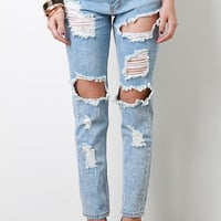 Distressed Hole Cutout Jeans