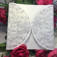 5Pcs/ 7Pcs/9Pcs/10Pcs Romantic White Wedding Party Invitation Card Envelope Delicate Carved Flowers [7982883207]