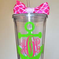 Monogrammed anchor tumbler. 16 ounce cups.