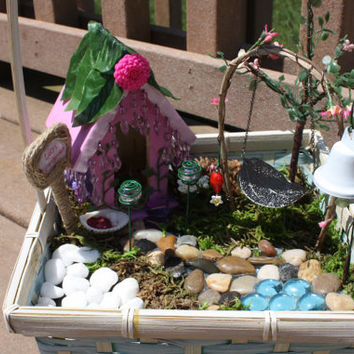 Handmade Fairy Garden Accessories Swing, Bell, Fairy Dust, Decorative Lamps, Hummingbird Feeder, 6 pieces total