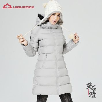 HIGHROCK Winter Women Ultra Light Goose Down Jacket Outdoor Skiing Warm Hooded Jackets Slim Coat Female Outwear, Fill Power 700