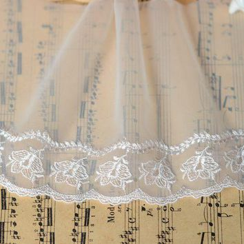 H1201 clothing accessories Japanese skin pink simple gauze embroidery lace 12 cm wide