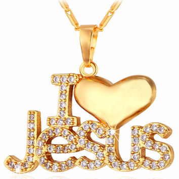 New Jesus Heart Necklace Pendant Chain Gold Jewelry For Men/Women I LOVE JESUS