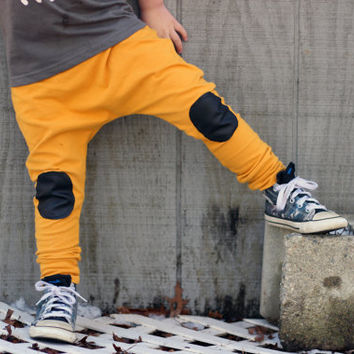 mustard baby leggings or harems with pleather knee patches