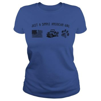 Just a simple American girl flag jeep and dog paw shirt Premium Fitted Ladies Tee