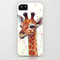 Baby Giraffe Watercolor Painting, Cute Animals iPhone & iPod Case by Olechka