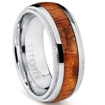 8mm Titanium Wedding Band, Engagement Ring with Real Hawaiian Koa Rosewood Inlay