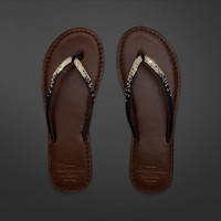 Shine Leather Flip Flops