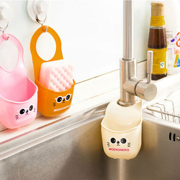 Kitchen Bathroom Sink Hanging Storage Bag Rack Holder Cartoon Soap Dish Organizer Box Sink Snap Storage Soap Sponge Container