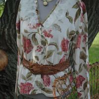 Floral Cotton Sweater with Tattered Toulle Collar