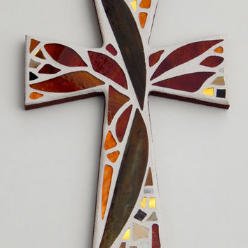 "Mosaic Wall Cross, Abstract Floral Design, ""Sunset"", Shades of Brown + Gold with a Touch of Maroon, Handmade Stained Glass Mosaic 12"" x 8"""