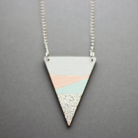 Glitter Dipped Triangle Necklace (Grey - Blue - Peach - Silver)