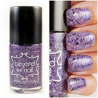 Witch's Brew - Purple and Silver Microglitter Nail Polish with Black Glitter