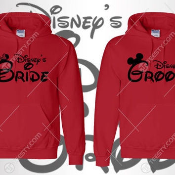 Bride Groom Hoodie Hoodies Mickey Minnie Mouse Bride Groom Hoodie Hoodies Couple Clothing Matching Clothing Love Relationship Valentines Day
