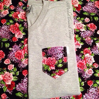 VNeck Rose Pocket Tee, Size: Unisex Adult Small, Medium, Large, Extra Large