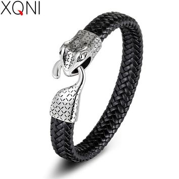 XQNI Snake Pattern Design Toggle-clasps Alloy Buckle Stainless Steel Genuine Leather Bracelet For Men Jewelry Birthday Gift