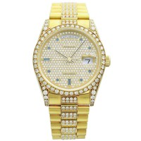 Rolex Yellow Gold Day-Date Pave Diamond Sapphire Dial Wristwatch Ref 18388