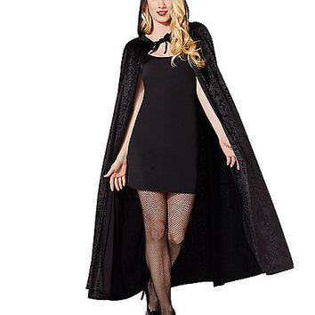 Black Velvet Hooded Womens Cape - Spirithalloween.com
