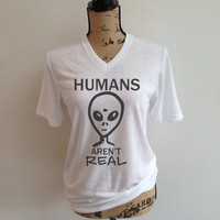 humans arent real, jpl, shirt, nasa logo, tumblr shirt, trending, rocket, rocket ship, outer space