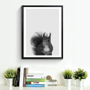 Squirrel Print, Woodlands Nursery, Squirrel Wall Art Decor, Black and White Animal Print, Printable Art, Black and White Woodlands *108*
