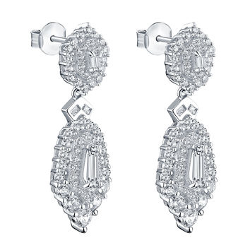 Dangling Huggies Earrings Simulated Diamonds Sterling Silver