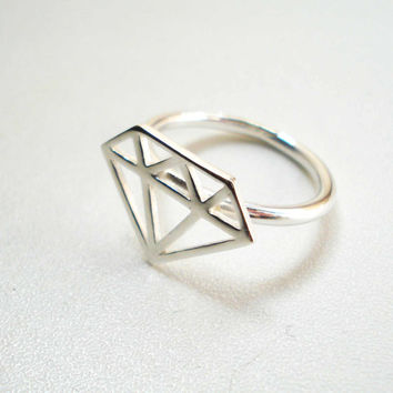 Sterling Silver Diamond Ring, Diamond Ring in Sterling Silver
