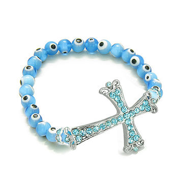 Amulet Evil Eye Protection Magic Cross Charm Spiritual Powers Bracelet Crystals Sky Blue Glass Beads