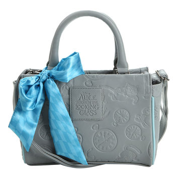 Loungefly Disney Alice Through The Looking Glass Grey Embossed Barrel Bag