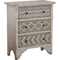 Aubrey Cabinet Distressed White Geometric Pattern Grey Drawers