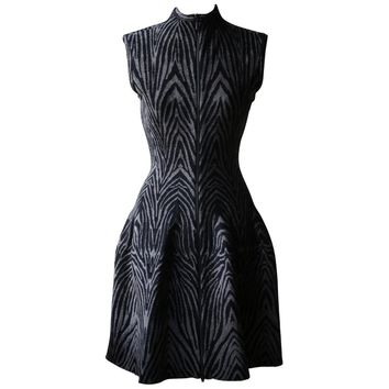 Azzedine Alaïa Zip Front Printed Stretch Knit Dress