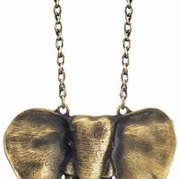 Gold Taj Elephant Necklace - Unique Vintage - Cocktail, Evening & Pinup Dresses