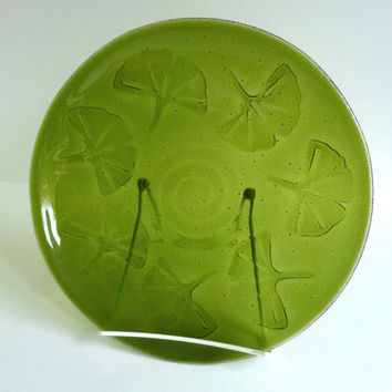 Fused Glass Ginkgo Leaf Imprinted Bowl in Fern Green