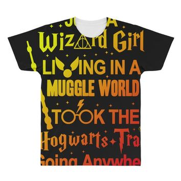 Just A Wizard Girl Living In A Muggle World All Over Men's T-shirt