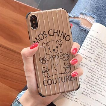 MOSCHINO Newest Fashion Mobile Phone Cover Case For iphone 6 6s 6plus 6s-plus 7 7plus 8 8plus X XS Max XR Khaki