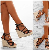 Women Wedge Sandals Simple Style Straps Slope Heel Pure Color Peep-toe Ankle Strap