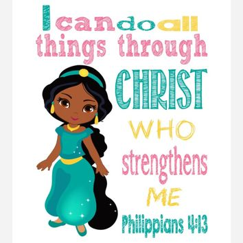 African American Jasmine Christian Princess Nursery Decor Art Print - I Can Do All Things Through Christ Who Strengthens Me - Philippians 4:13 Bible Verse - Multiple Sizes
