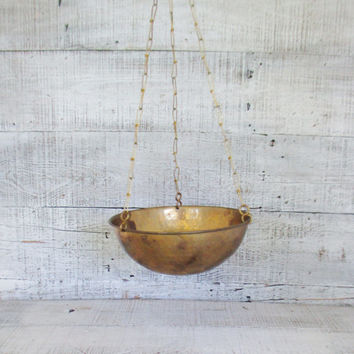 Hanging Brass Bowl Brass Planter Hammered Gold Bowl Hollywood Regency Decor Hanging Planter Gold Planter Gold Fruit Bowl Hanging Basket