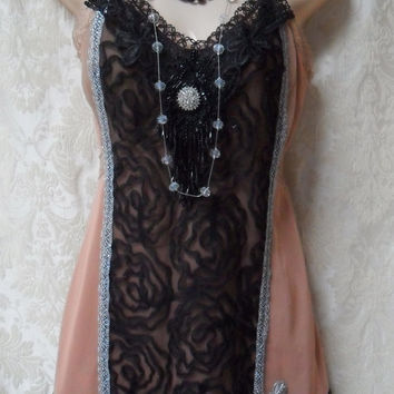 ON SALE FLAPPER Great Gatsby 1920s Speakeasy Jazz Age Roaring 20s - Vintage Slip Make Over -Black and Taupe, Silver