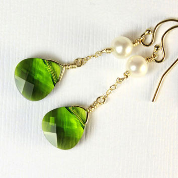 Swarovski Earrings with Pearls - 14K Gold Filled - Olivine Crystals - Bridesmaid Gift, Bridal Jewelry - Gold Earrings, Green