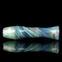 Blue Swirl Glass Chillum Pipe