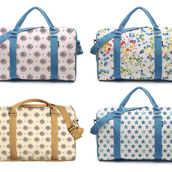 Watercolor Seamless Patterns Printed Canvas Duffle Luggage Travel Bag WAS_42