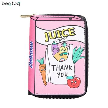 Bentoy Brand Funny Short Leather Women Wallets Cute Cartoon Money Purse Student Mini Bag PU Coin Purse Zipper Bank Card Holders