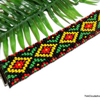 Beaded Woven Bracelet Bead Loom Tribal Lomasi Design Bright Colors Handmade Jewelry 7 Inch Black Yellow Red Green Wide Cuff