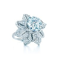 Tiffany & Co. -  The Great Gatsby Collection flower ring in platinum with a 5.25-carat diamond.