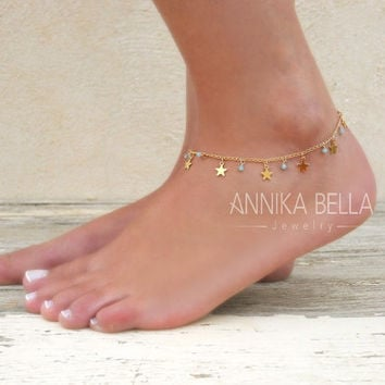 barefoot charm anklet sterling gold silver shegrace dp rose bead layers sandal jewelry beach